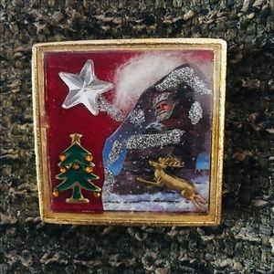 Unique Dimensional  Holiday Brooch